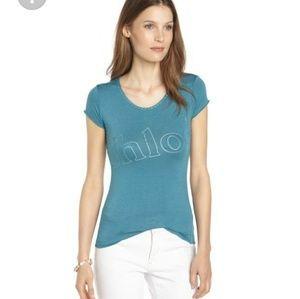'Chloe' T-Shirt  Blue Stretch Cotton Scoop Neck